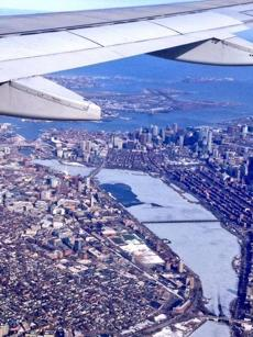 """Never looked so good,"" Jake O'Brien tweeted after he snapped this photo when flying back to Boston."