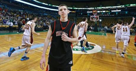 The look on Watertown sophomore guard Brendan Hoban told the story, as he walked off the court as Cardinal Spellman players celebrated. The teams met in the boy's Division 3 State Semi Final at the TD Garden.