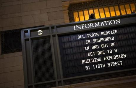 A sign warned of delays at Grand Central Station.