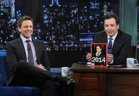 "With Jimmy Fallon"" in January, before Fallon moved to the ""Tonight Show"" and  Meyers took over ""Late Night."""