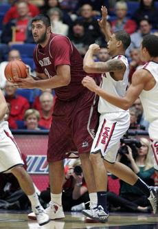 New Mexico State's Sim Bhullar: Go ahead, dunk it, big guy.