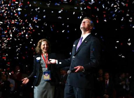 Boston Ma 3/22/2014 Lauren Baker (cq) left and her husband Charlie Baker (cq) after he won his parties endorsement. Massachusetts State Republican Covention . Boston Globe Staff/Photographer Jonathan Wiggs Topic: Reporter: