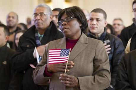Marie Rose Antoine, a nurse's aide who lives in Boston, became a US citizen in March. Antoine, 65, said her husband pressed her to apply as they grew older.