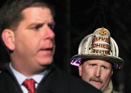 Boston Mayor Martin Walsh and Fire Department Deputy Chief  Joseph Finn spoke near the scene.
