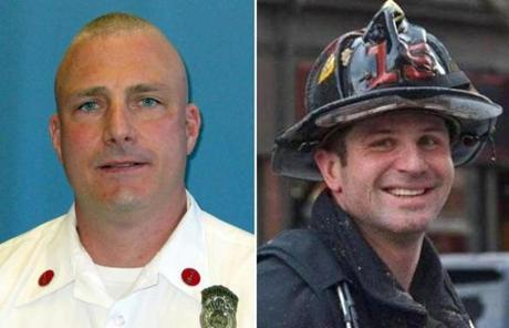 Lieutenant Edward Walsh (left) and firefighter Michael Kennedy were killed in the blaze.