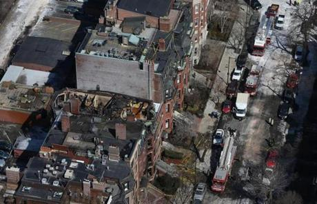 The aftermath of the scene of a nine-alarm blaze.