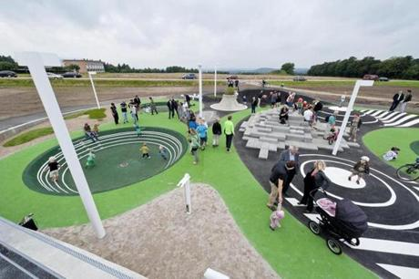 Cutting-edge playgrounds such as Denmark's Pulse Park integrate natural features with more typical