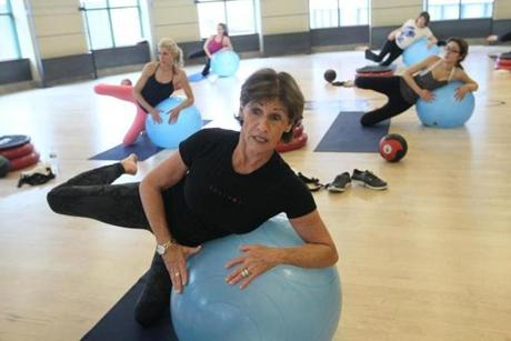 Instructor Josie Gardiner leading exercise class at Equinox health club in the Back Bay.