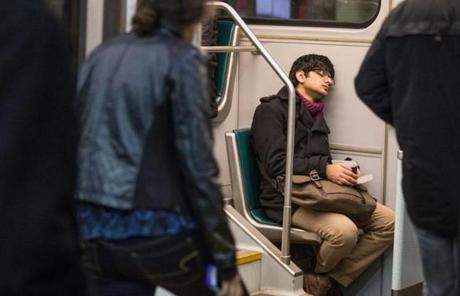 Jibran Malek rested on a Green Line train to Boston College on his way home from work at 2:45 a.m