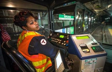 Green Line conductor Catrina Mitchell stopped at Boylston station in the last train to Boston College at 3:10 a.m