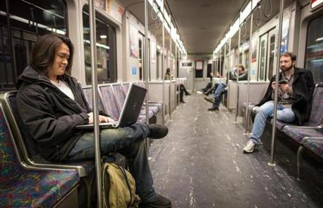 Jim Nguyen, 22, rode the Red Line home to Fields Corner at 1:45 a.m. after a night at the movies.