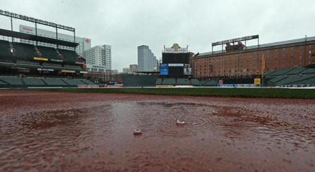 Heavy rains forced the scheduled workout for the Red Sox at Camden Yards to be canceled.