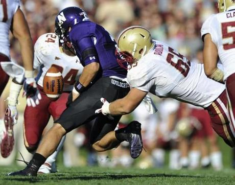 Football players of Northwestern University tentatively won the right to unionize. Above, a Boston College-Northwestern game.