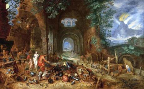 """Venus at the Forge of Vulcan,"" from Jan Brueghel the Elder, 1606-23."