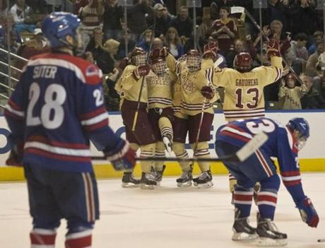 The Eagles celebrated Bill Arnold's goal, with Johnny Gaudreau's assist, in the second period.