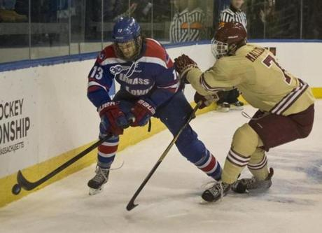 The Eagles' Isaac MacLeod battled with Adam Chapie.
