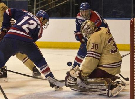 The Eagles' Thatcher Demko denied Josh Holmstrom a shot at a goal in the third period.