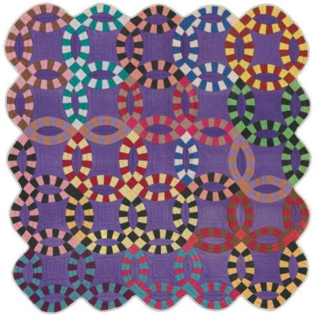 Double Wedding Ring quilt, circa 1940, African-American, Missouri.
