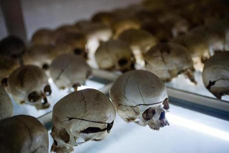 Skulls of genocide victims were laid out in a church in Nyamata, Rwanda, on March 24.