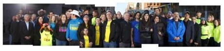 A composite of photos from the group portrait on the finish line.