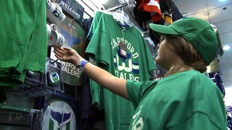 West Hartford, CT. 08/11/10 Whalers merchandise is enjoying a revival of sorts as fans continue to purchase clothing and memorablia at places like Parade of Novelties Sports, the