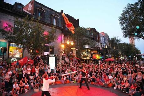 Outdoor performances on the streets and terraces of Montreal are among the highlights of the Montreal Cirque Festival.