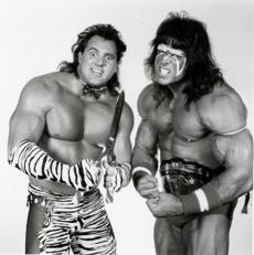 "The Ultimate Warrior (right), with Brutus ""The Barber"" Beefcake, in 1988."