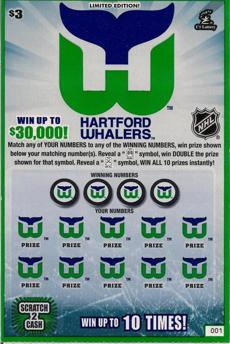 This is an image of a limited edition Hartford Whalers scratch ticket issued by the Connecticut State Lottery. The instant game launched in November 2013.