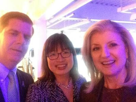 From left: Mayor Martin Walsh, the Globe's Shirley Leung, and Arianna Huffington.
