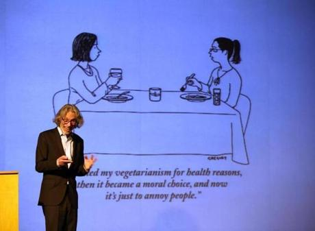 Bob Mankoff at the Brattle Theatre last week, where he talked about his cartooning career, what's funny, and his new book covering all that and more.