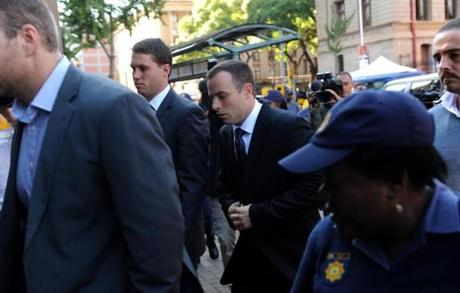 Paralympic athlete Oscar Pistorius arrived for another day of his trial at the North Gauteng High Court in Pretoria.