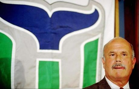 Peter Karmanos owner of the NHL Hartford Whalers announced that he will be moving the Whalers out of Hartford to an undetermined city at the end of the season during a news conference at the Civic Center in Hartford, Conn., Wednesday, March 26, 1997. The Whalers will pay the state a $20.5 million penalty to leave after this season. (AP Photo/Richard Mei)