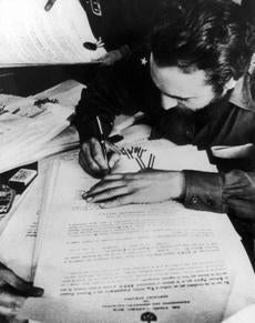 Fidel Castro signed certificates redistributing land in May 1959.