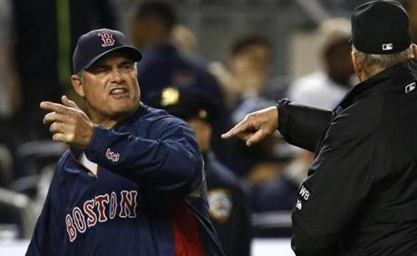 John Farrell has had his run-ins with umpires, but instant replay has negated a lot of that in the majors. Photo by Jeff Zelevansky/Getty Images