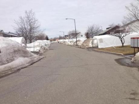 The street where Patrice Bergeron grew up, which was still filled with mounds of snow in early April.