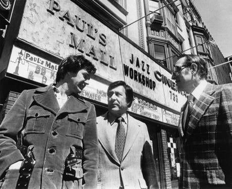 Fred Taylor (center, with John Cronin and Anthony Mauriello) outside the Jazz Workshop/Paul's Mall in 1978.