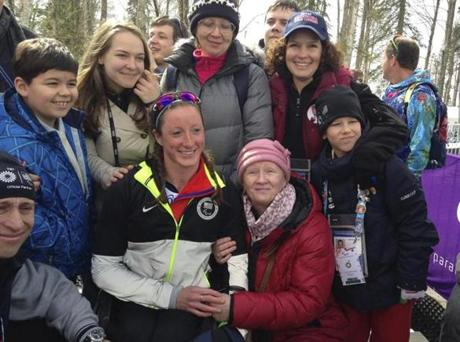 Tatyana McFadden with her Russian birth mother after winning a silver medal in skiing at the Winter Paralympics.