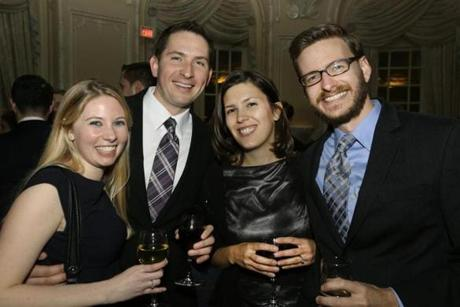From left: Darcie Plourde and Adam Stawinski, both of Framingham, and Michelle and Sean Hamlett of Sutton.