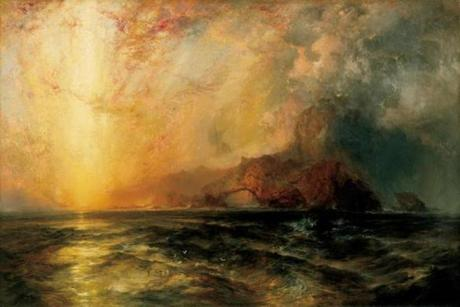 "Thomas Moran, ""Fiercely the red sun descending/Burned his way along the heavens"", 1875-1876, Oil on canvas, 33 3/8 x 50 1/16 in. (84.8 x 127.2 cm), North Carolina Museum of Art, Raleigh, Purchased with funds from the North Carolina State Art Society (Robert F. Phifer Bequest)"