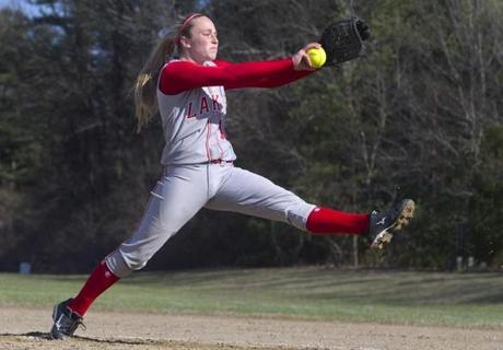 Silver Lake star pitcher Maddy Barone has been a step ahead of hitters all season. Globe Staff Photo by Stan Grossfeld.