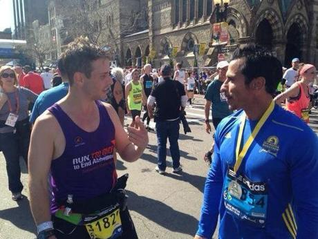 Boston-bred New Kids on the Block members (from left) Joey McIntyre and Danny Wood finished the Boston Marathon on Monday.