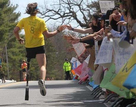 A runner received support from the crowd in Wellesley.