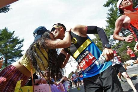Wellesley College student Ambika Patpatia got a kiss from a runner in the scream tunnel.