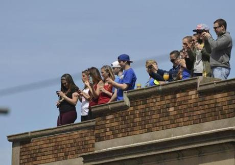 Spectators in Newton watched the women's elite runners