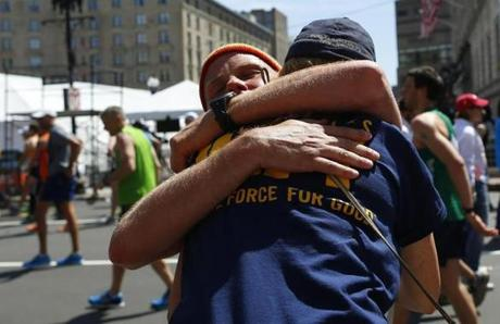 Elliott Layton, 33, of Indianapolis, hugged his mother, Linda, after he crossed the finish line.