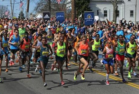Hopkinton, MA - 04/21/14 - The elite men's start in Hopkinton. - (Barry Chin/Globe Staff), Section: Metro, Reporter: Globe Staff, Topic: 22Boston Marathon, LOID: .