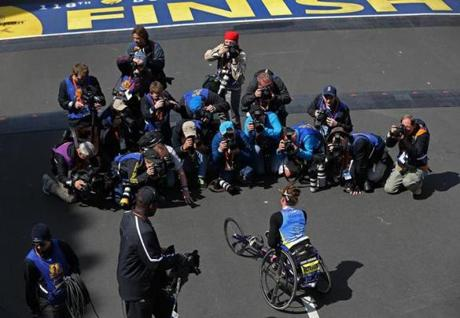 BOSTON, MA - 4/21/2014: Womens first place finisher for wheelchair photo opp Boston Marathon finish line (David L Ryan/Globe Staff Photo) SECTION: SPORTS TOPIC