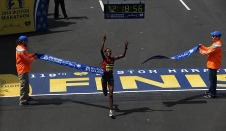 BOSTON, MA - 4/21/2014: Womens first place finisher on finish line at Boston Marathon finish line (David L Ryan/Globe Staff Photo) SECTION: SPORTS TOPIC