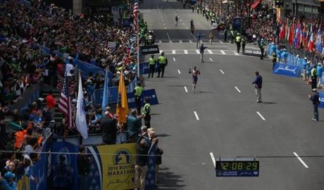 BOSTON, MA - 4/21/2014: Mens winner heading to finish line at Boston Marathon finish line (David L Ryan/Globe Staff Photo) SECTION: SPORTS TOPIC