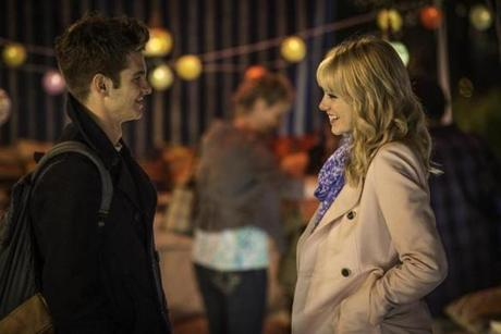 Emma Stone (right) plays Spidey's romantic interest, Gwen Stacey.